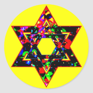 Estrella de David Etiquetas Redondas