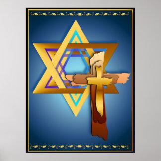 Estrella de David y de la cruz triple Póster