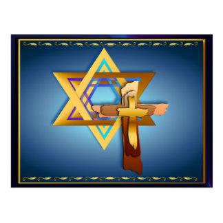 Estrella de David y de la cruz triple Tarjeta Postal
