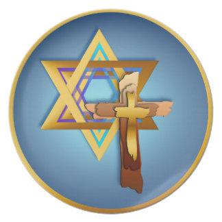 Estrella de David y de la placa cruzada triple Plato