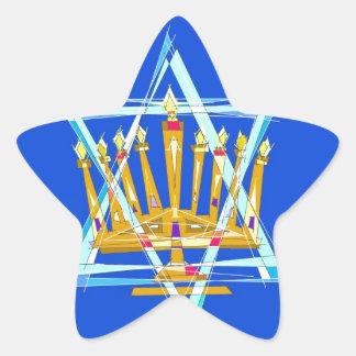 Estrella de David y del Menorah Pegatina En Forma De Estrella