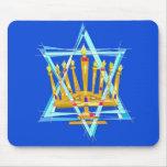 Estrella de David y del Menorah Alfombrilla De Ratón