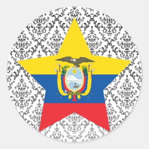 Estrella de Ecuador Pegatina Redonda
