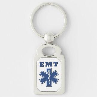 Estrella de EMT de la vida Llavero Plateado Rectangular