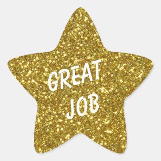 Estrella de encargo del oro del mensaje con pegatina en forma de estrella