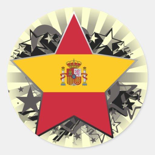 Estrella de España Pegatina Redonda