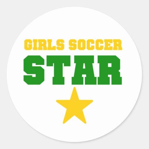 Estrella de fútbol del chica etiqueta