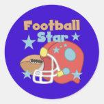 Estrella de fútbol etiquetas redondas