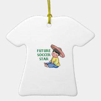 Estrella de fútbol futura adorno de cerámica en forma de playera