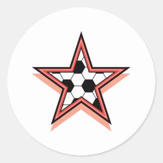 Estrella de fútbol pegatina redonda
