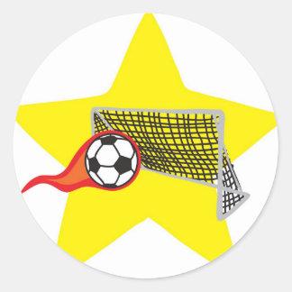 ¡Estrella de fútbol!  Personalizable: Pegatina Redonda