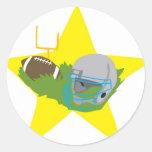 ¡Estrella de fútbol!  Personalizable: Etiquetas Redondas