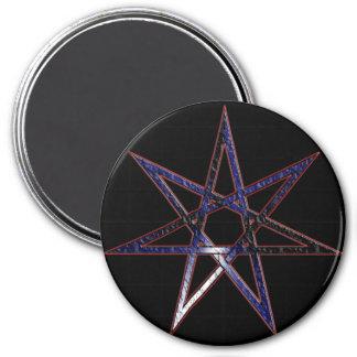 Estrella de hadas del orgullo de cuero imán redondo 7 cm