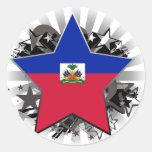 Estrella de Haití Pegatina Redonda