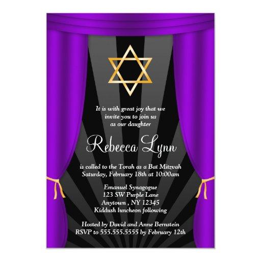 Estrella de Hollywood del palo púrpura Mitzvah de Invitación 12,7 X 17,8 Cm