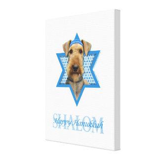 Estrella de Jánuca de David - Airedale Terrier Impresión En Lienzo Estirada
