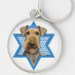 Estrella de Jánuca de David - Airedale Terrier Llavero Redondo Plateado