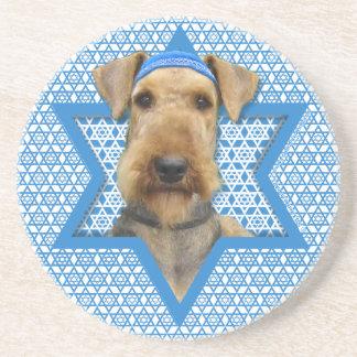 Estrella de Jánuca de David - Airedale Terrier Posavasos Diseño