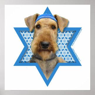 Estrella de Jánuca de David - Airedale Terrier Póster