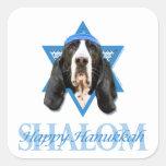 Estrella de Jánuca de David - Basset Hound - Pegatina Cuadradas Personalizada