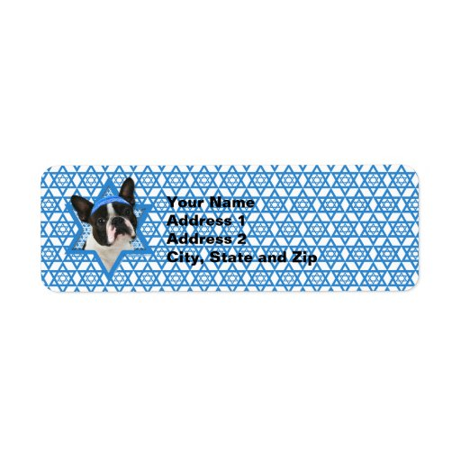 Estrella de Jánuca de David - Boston Terrier Etiqueta De Remitente