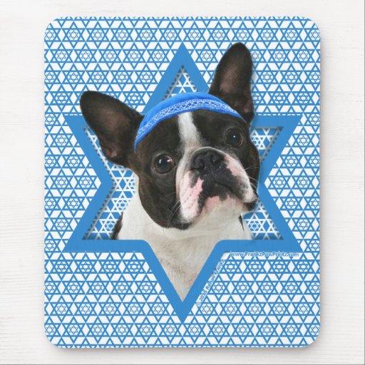 Estrella de Jánuca de David - Boston Terrier Tapetes De Raton