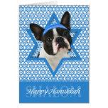 Estrella de Jánuca de David - Boston Terrier Tarjeta De Felicitación