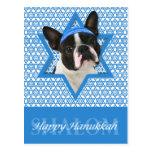 Estrella de Jánuca de David - Boston Terrier Tarjeta Postal