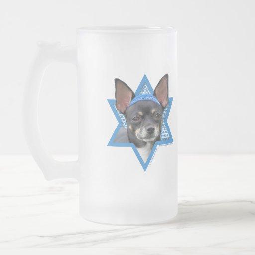 Estrella de Jánuca de David - chihuahua Tazas De Café