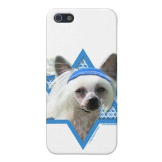 Estrella de Jánuca de David - chino Crested iPhone 5 Coberturas