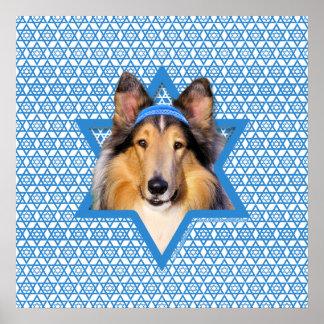 Estrella de Jánuca de David - collie Poster