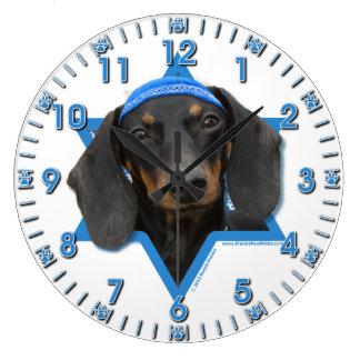 Estrella de Jánuca de David - Dachshund - Winston Reloj Redondo Grande