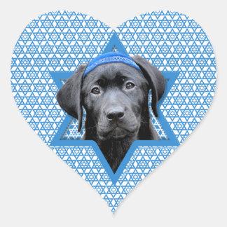 Estrella de Jánuca de David - Labrador negro Pegatina En Forma De Corazón