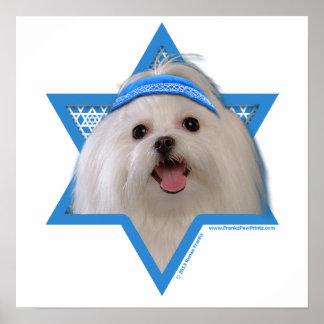 Estrella de Jánuca de David - maltés Posters