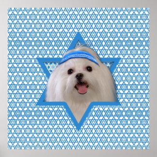 Estrella de Jánuca de David - maltés Poster