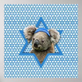 Estrella de Jánuca de David - oso de koala Poster