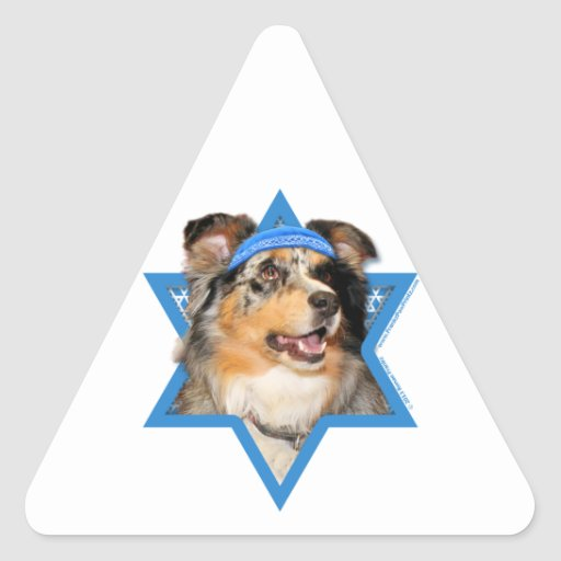 Estrella de Jánuca de David - pastor australiano Pegatina Triangular
