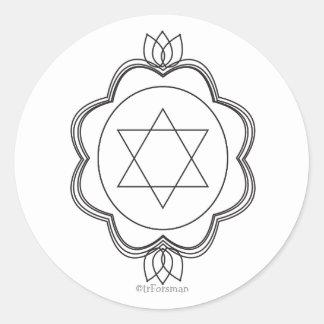 Estrella de Jánuca de David+pegatina del loto Pegatina Redonda