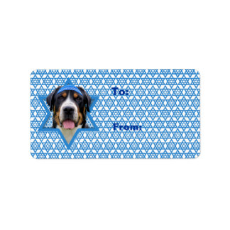 Estrella de Jánuca de David - perro suizo de la Etiquetas De Dirección