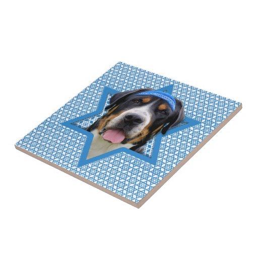 Estrella de Jánuca de David - perro suizo de la mo Tejas Ceramicas