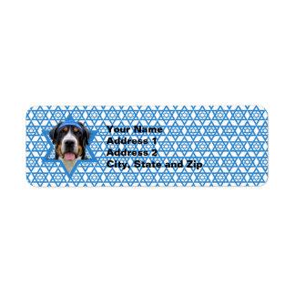 Estrella de Jánuca de David - perro suizo de la mo Etiqueta De Remite
