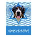 Estrella de Jánuca de David - perro suizo de la mo Tarjeta Postal