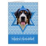 Estrella de Jánuca de David - perro suizo de la Tarjeta De Felicitación