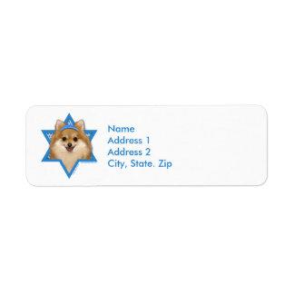 Estrella de Jánuca de David - Pomeranian Etiquetas De Remite