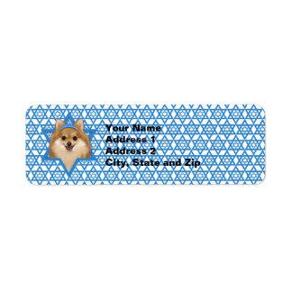 Estrella de Jánuca de David - Pomeranian Etiqueta De Remite