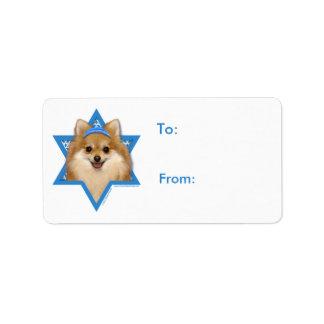 Estrella de Jánuca de David - Pomeranian Etiquetas De Dirección