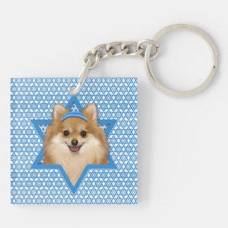 Estrella de Jánuca de David - Pomeranian Llavero Cuadrado Acrílico A Doble Cara
