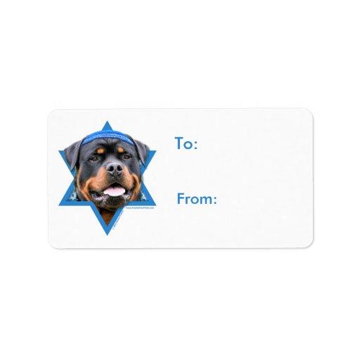 Estrella de Jánuca de David - Rottweiler Etiqueta De Dirección