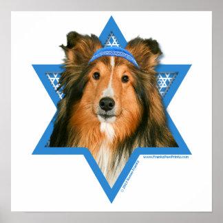 Estrella de Jánuca de David - Sheltie Poster