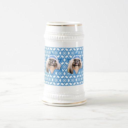 Estrella de Jánuca de David - Shih Tzu - ópalo Tazas De Café